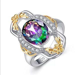 🆑 Rainbow Topaz Art Deco Ring in .925 w/ Gold